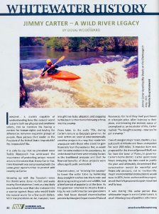 American Whitewater magazine, Sept/Oct 2019. Article spread: Whitewater History: Jimmy Carter — A Wild River Legacy, by Doug Woodward