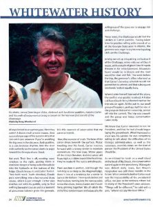American Whitewater magazine, Sept/Oct 2019. Article inner page: Whitewater History: Jimmy Carter — A Wild River Legacy, by Doug Woodward
